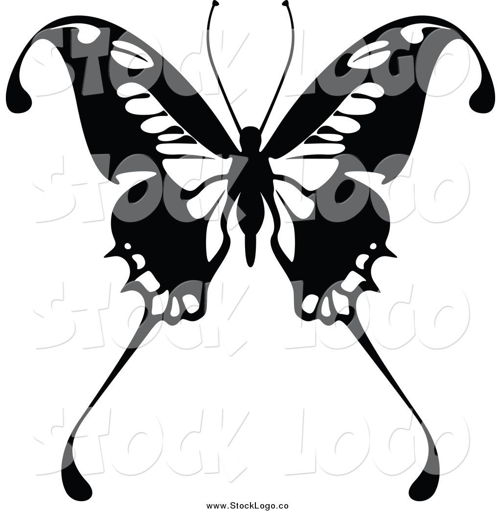 vector clipart of a black and white butterfly logo by dero 5097