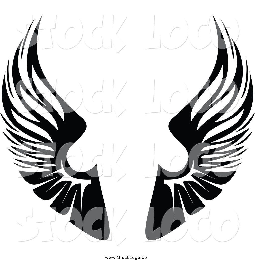 vector clipart of a black and white pair of wings logo by vector rh stocklogo co wind vector wind vector map