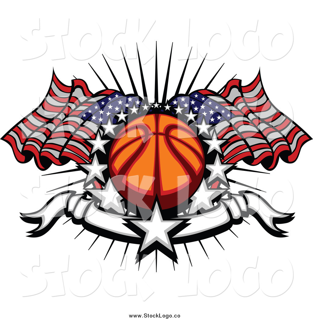 Vector Clipart Of A Sports Logo Basketball With American Flags Stars And Blank