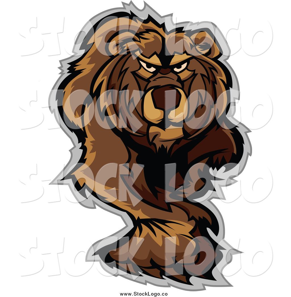 Vector Clipart of a Stalking or Walking Bear Logo by ...