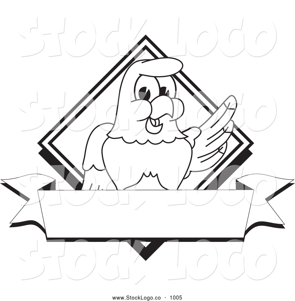 vector logo of a coloring page of a cute bald eagle hawk or falcon