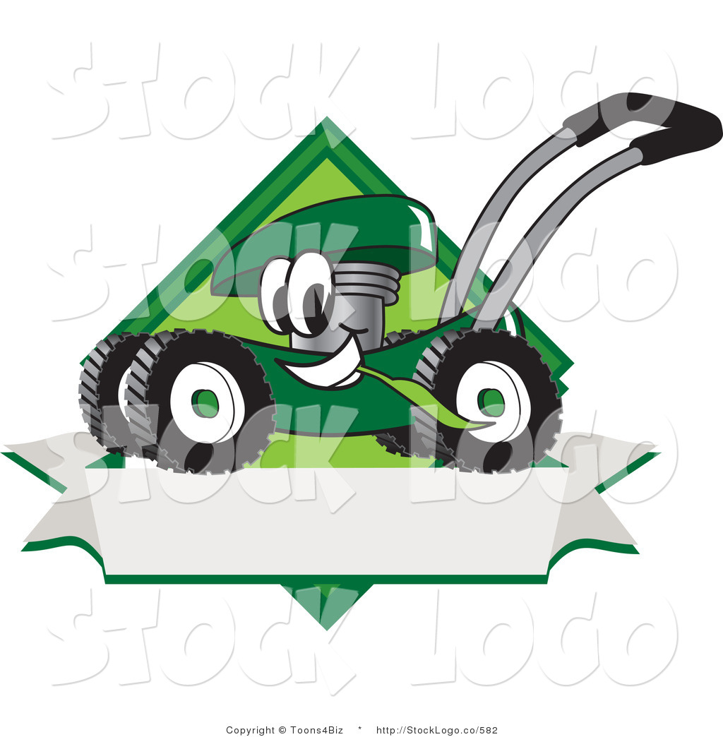 blank lawn care logos. happy green lawn mower mascot cartoon character chewing grass on a blank ribbon label care logos w