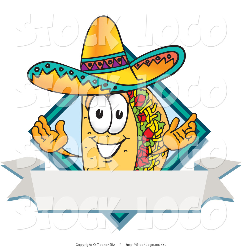 Vector logo of a mexican taco mascot cartoon character for Mexican logos images