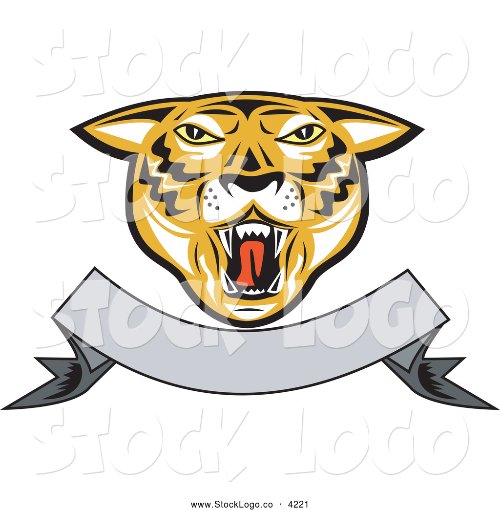 Vector Logo Of A Roaring Tiger Head And Blank Banner