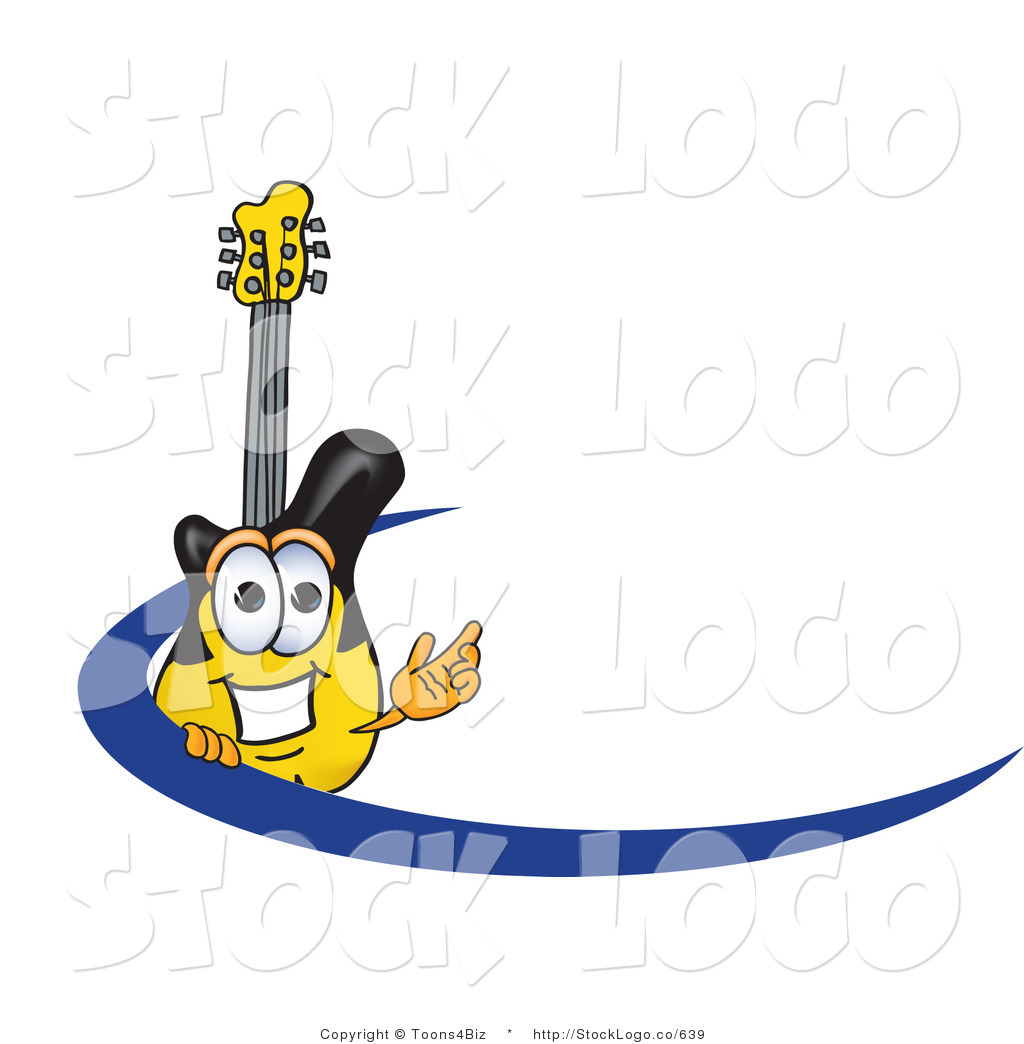 4 Cartoon Characters Wearing Black And Yellow : Vector logo of a smiling yellow and black guitar mascot