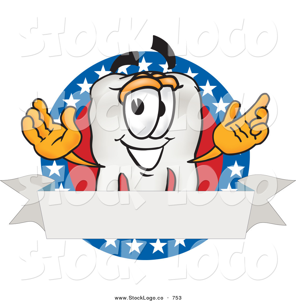 1 Toothed Cartoon Characters : Vector logo of a white tooth mascot cartoon character on
