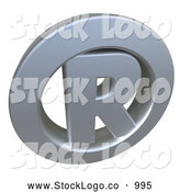 3d Logo of a Silver or Chrome Registered Trademark Icon with an R in the Center by Frank Boston