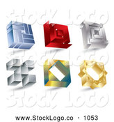 3d Vector Logo of a Digital Collage of Various 3d Material Icon Squares by MilsiArt
