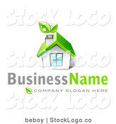 3d Vector Logo of a Green Home with Leaves Sprouting from the Chimney by Beboy