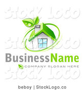 3d Vector Logo of a Green Renewable Energy Home by Beboy