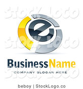 3d Vector Logo of a Letter E Circled by Chrome and Yellow Metallic Curved Bars by Beboy