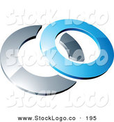 3d Vector Logo of a Pre-Made Logo of a Blue Shiny 3d Ring over a Silver Circle, Above Space for a Business Name and Company Slogan by Beboy
