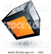 3d Vector Logo of a Pre-Made Logo of a Cube with One Orange Transparent Window on White by Beboy