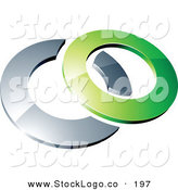 3d Vector Logo of a Pre-Made Logo of a Green Shiny 3d Ring over a Silver Circle, Above Space for a Business Name and Company Slogan by Beboy