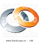 3d Vector Logo of a Pre-Made Logo of a Orange Shiny 3d Ring over a Silver Circle, Above Space for a Business Name and Company Slogan by Beboy