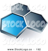3d Vector Logo of a Pre-Made Logo of a Single Blue Honeycomb Connected to Two Others, Above Space for a Business Name and Company Slogan by Beboy