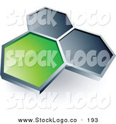 3d Vector Logo of a Pre-Made Logo of a Single Green Honeycomb Connected to Two Others, Above Space for a Business Name and Company Slogan by Beboy