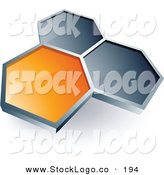 3d Vector Logo of a Pre-Made Logo of a Single Orange Honeycomb Connected to Two Others, Above Space for a Business Name and Company Slogan by Beboy