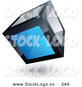 3d Vector Logo of a Pre-Made Logo of a Solid Cube with One Blue Transparent Window by Beboy