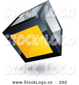3d Vector Logo of a Pre-Made Logo of a Solidly Built Cube with One Yellow Transparent Window by Beboy