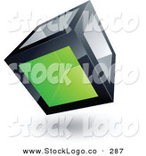 3d Vector Logo of a Pre-Made Logo of a Strong Cube with One Green Transparent Window by Beboy