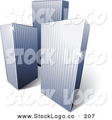 January 11th, 2013: 3d Vector Logo of a Pre-Made Logo of a Trio of Tall City Skyscrapers Above Space for a Business Name and Company Slogan by Beboy
