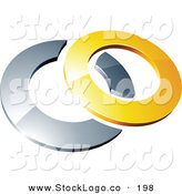 3d Vector Logo of a Pre-Made Logo of a Yellow Shiny 3d Ring over a Silver Circle, Above Space for a Business Name and Company Slogan by Beboy