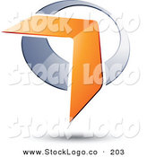 January 5th, 2013: 3d Vector Logo of a Pre-Made Logo of an Orange Boomerang or Arrow over a Silver Circle, Above Space for a Business Name and Company Slogan by Beboy