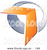3d Vector Logo of a Pre-Made Logo of an Orange Boomerang or Chevron Arrow over a Chrome Circle, to the Left of Space for a Business Name and Company Slogan by Beboy