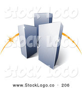 3d Vector Logo of a Pre-Made Logo of an Orange Swish Behind Three Tall City Skyscrapers Above Space for a Business Name and Company Slogan by Beboy