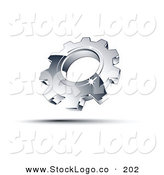 3d Vector Logo of a Pre-Made Logo of One Shiny Chrome Cog Above Space for a Business Name and Company Slogan by Beboy