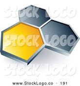 January 31st, 2013: 3d Vector Logo of a Pre-Made Logo of One Yellow Honeycomb Connected to Two Others, Above Space for a Business Name and Company Slogan on White by Beboy