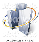 3d Vector Logo of a Pre-Made Logo of Orange and Blue Lines Circling Around Three Tall City Skyscrapers Above Space for a Business Name and Company Slogan by Beboy
