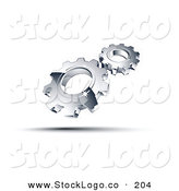 3d Vector Logo of a Pre-Made Logo of Shiny Chrome Gears Above Space for a Business Name and Company Slogan by Beboy