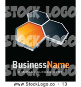 3d Vector Logo of a Shiny Pre-Made Logo of Orange and Black Hexagons, Above Space for a Business Name and Company Slogan on Black by Beboy