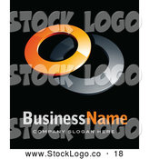 October 30th, 2013: 3d Vector Logo of a Shiny Pre-Made Logo of Two Orange and Chrome Rings, Above Space for a Business Name and Company Slogan on Black by Beboy