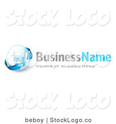 3d Vector Logo of Blue Arrows Circling Earth by Beboy