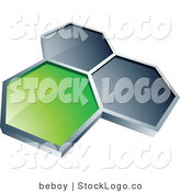 3d Vector Logo of Green and Gray Honeycombs by Beboy