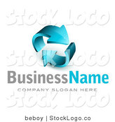 3d Vector Logo of Two Thick Blue Arrows Circling by Beboy