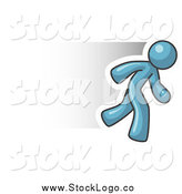 Clipart of a Fast Denim Blue Business Man Running by Leo Blanchette