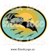 Clipart of a Flying Bat and Sun Logo by Patrimonio