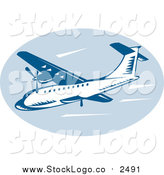 Clipart of a Retro Blue Airliner in Flight Logo by Patrimonio