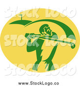 April 21st, 2014: Clipart of a Retro Green and Yellow Golfer Logo by Patrimonio