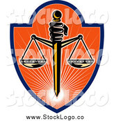 June 12nd, 2014: Clipart of a Scales of Justice and Sword Shield Logo by Patrimonio
