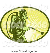 Clipart of a Woodcut Exterminator Worker and Sun Rays Oval Logo by Patrimonio