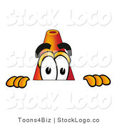 Logo of a Curious Traffic Cone Mascot Cartoon Character Peeking over a Surface by Toons4Biz