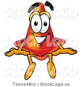 Logo of a Smiling Traffic Cone Mascot Cartoon Character Sitting by Toons4Biz