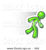 Logo of a Speedy Lime Green Business Man Running to the Right by Leo Blanchette