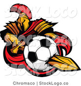 Spartan Warrior Stabbing a Soccer Ball with His SwordVector Logo of a by Chromaco
