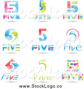 Vector Clipart of 3d Number Five 5 Logos by Cidepix